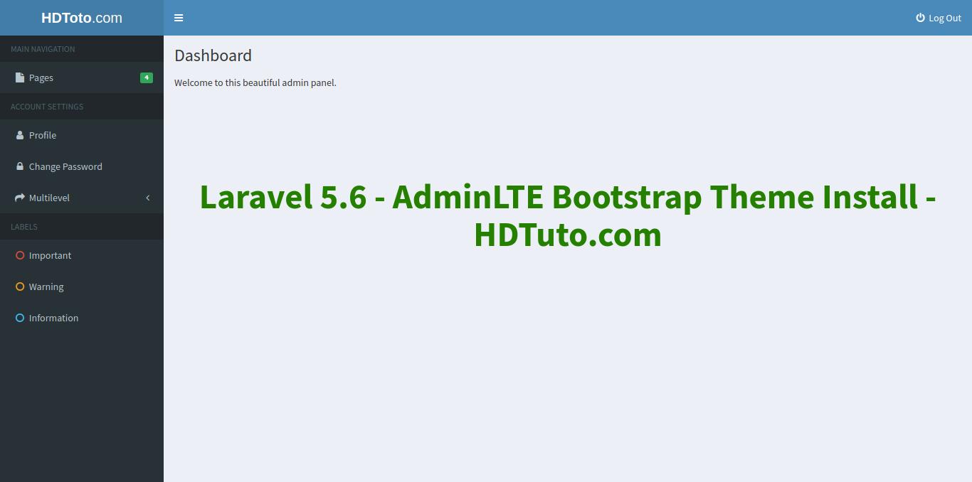 Laravel 5 6 - AdminLTE Bootstrap Theme Installation Example