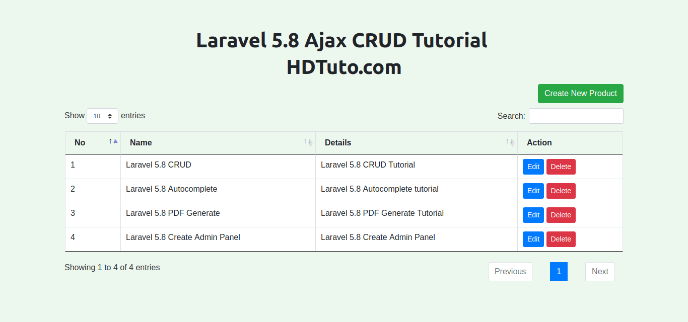 Ajax crud operations in Laravel 5 8 with Modal & Pagination - HDTuto com