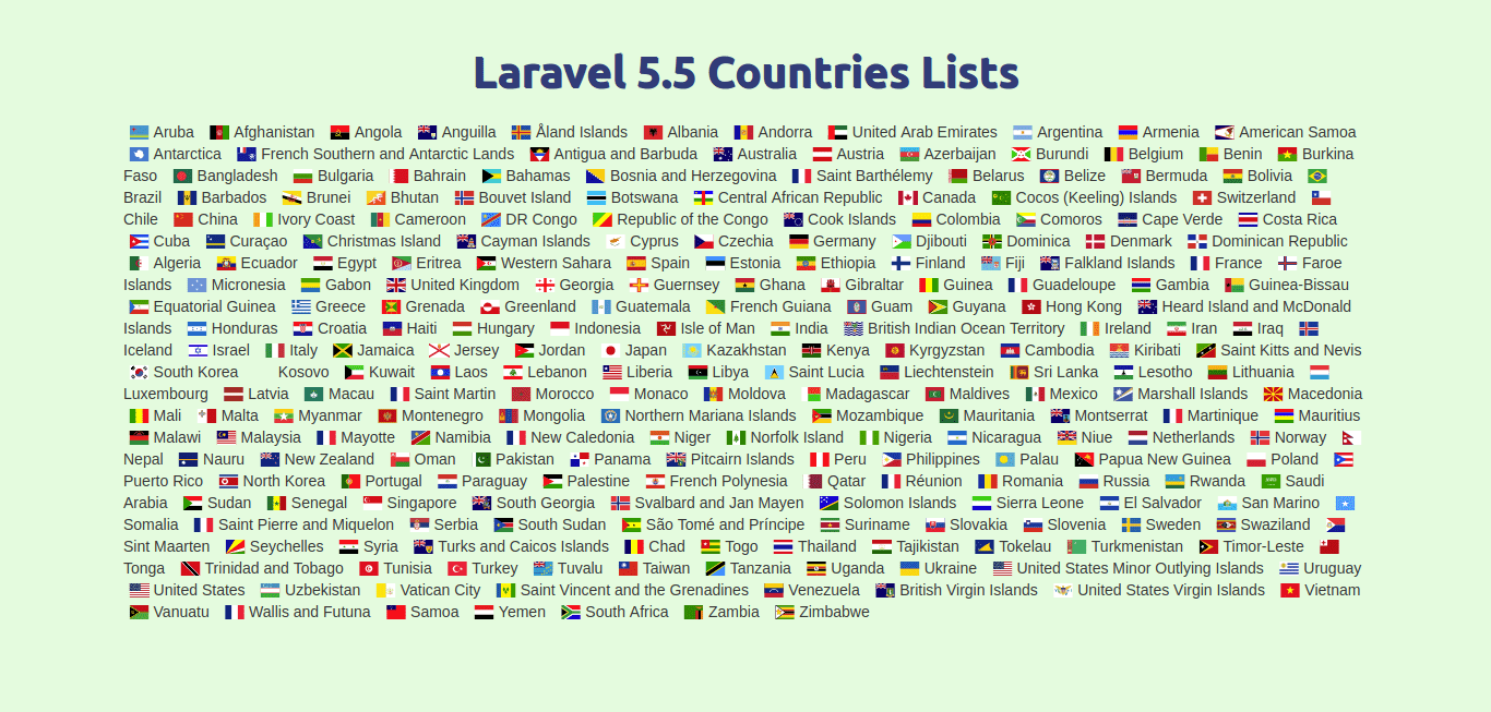 Laravel 5 5 country list using Countries package - HDTuto com
