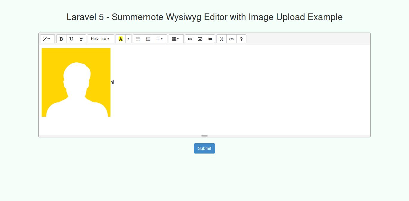 Laravel 5 - Summernote Wysiwyg Editor with Image Upload