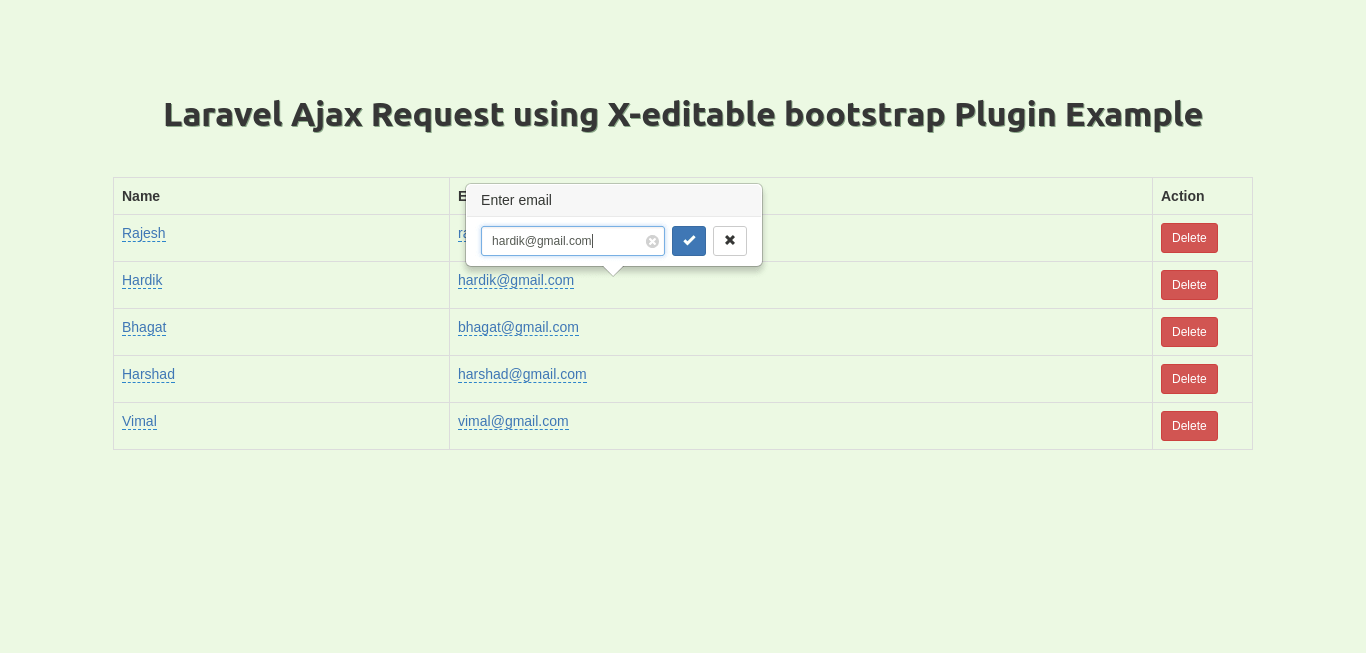 Laravel Ajax Request using X-editable bootstrap Plugin