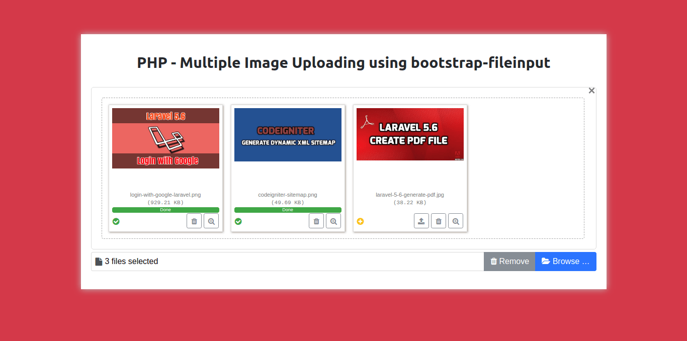 Ajax multiple image upload using bootstrap-fileinput in PHP